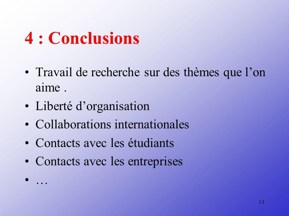 13 4 : Conclusions Travail de recherche sur des thèmes que lon aime.