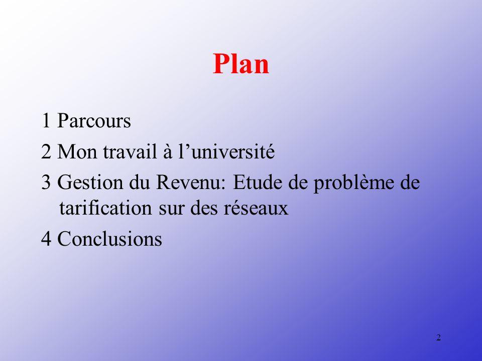 2 Plan 1 Parcours 2 Mon travail à luniversité 3 Gestion du Revenu: Etude de problème de tarification sur des réseaux 4 Conclusions