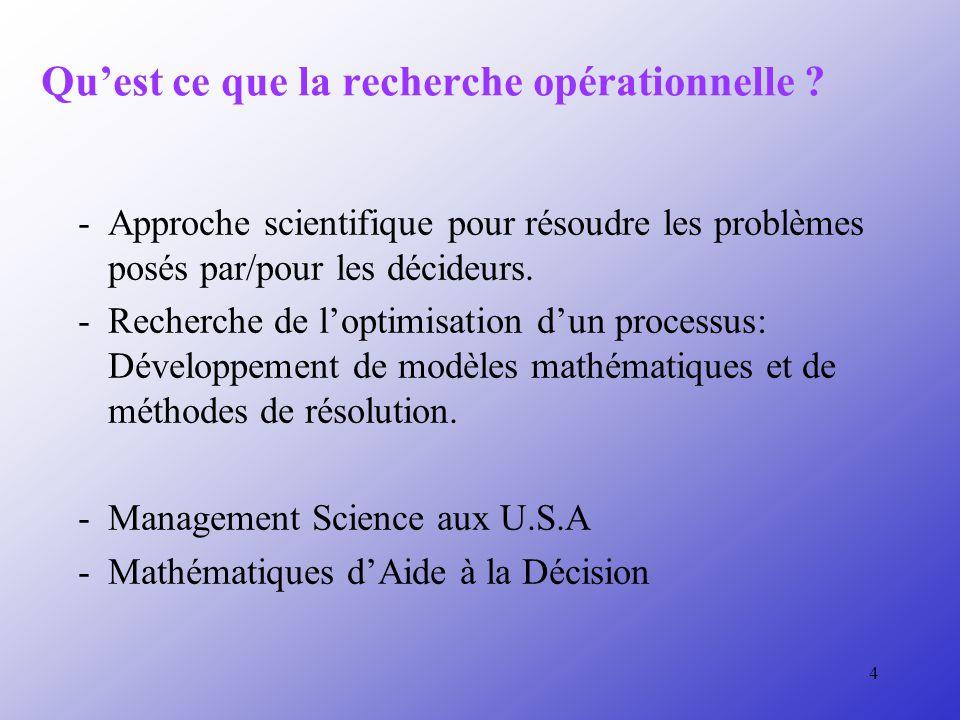 4 Quest ce que la recherche opérationnelle .