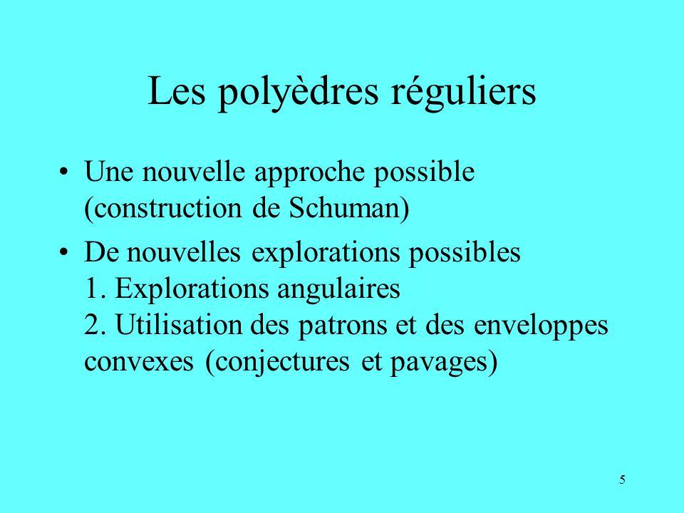 5 Les polyèdres réguliers Une nouvelle approche possible (construction de Schuman) De nouvelles explorations possibles 1. Explorations angulaires 2. U
