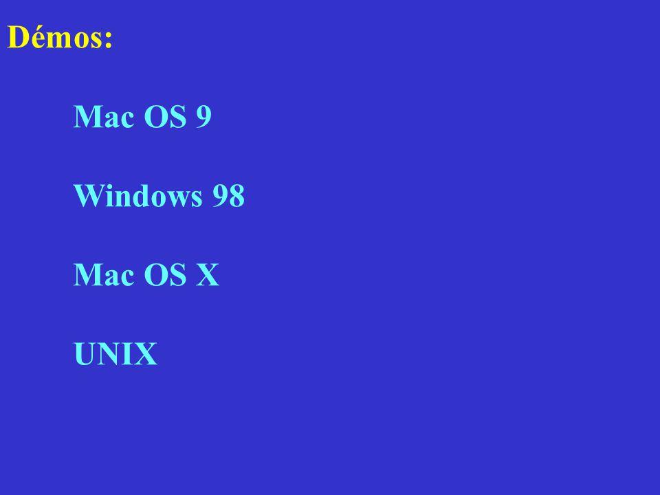 Démos: Mac OS 9 Windows 98 Mac OS X UNIX