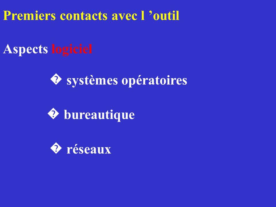 Premiers contacts avec l outil Aspects logiciel réseaux bureautique systèmes opératoires