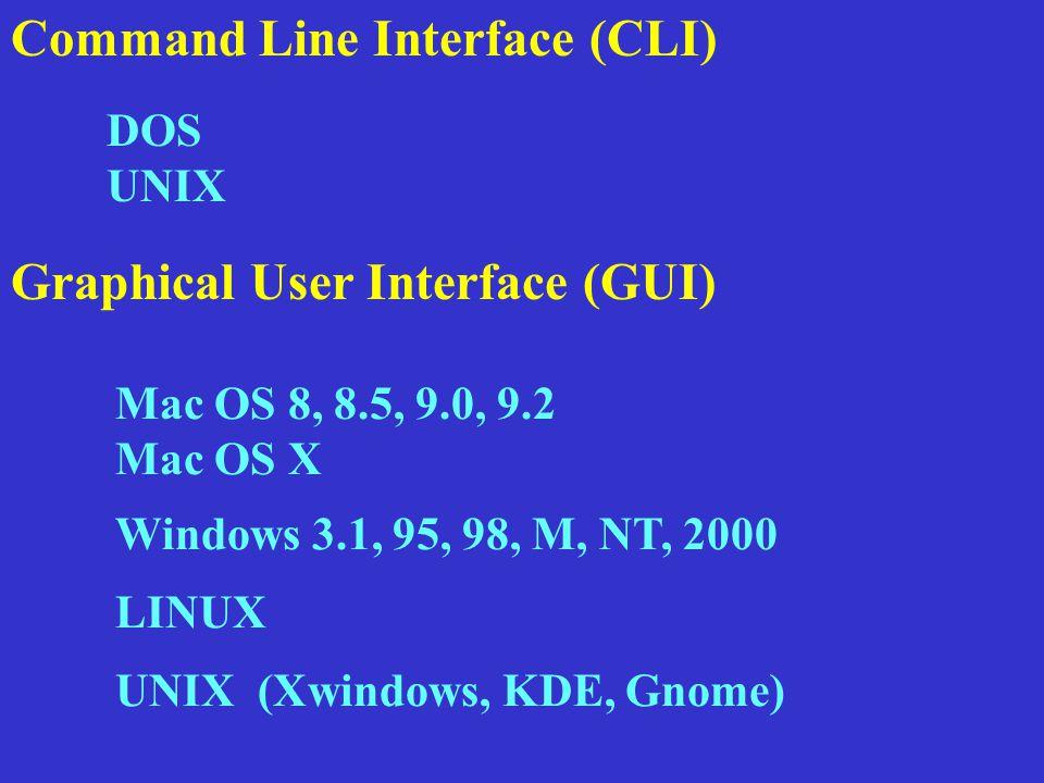 Command Line Interface (CLI) Mac OS 8, 8.5, 9.0, 9.2 Mac OS X Windows 3.1, 95, 98, M, NT, 2000 UNIX (Xwindows, KDE, Gnome) LINUX Graphical User Interface (GUI) DOS UNIX