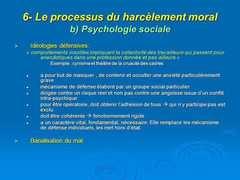 6- Le processus du harcèlement moral b) Psychologie sociale Idéologies défensives: Idéologies défensives: « comportements insolites impliquant la coll