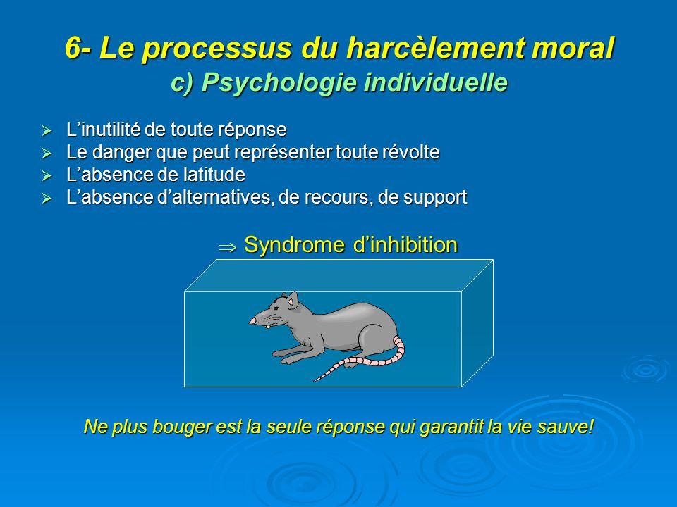 6- Le processus du harcèlement moral c) Psychologie individuelle Linutilité de toute réponse Linutilité de toute réponse Le danger que peut représente