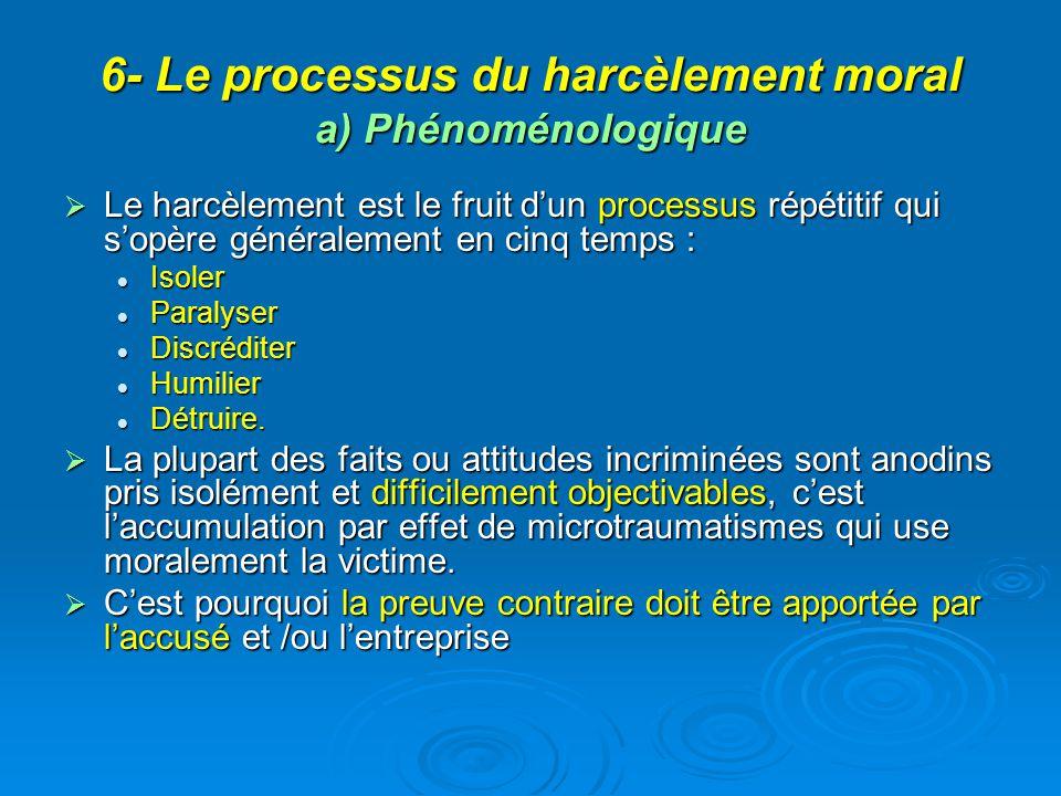 6- Le processus du harcèlement moral a) Phénoménologique Le harcèlement est le fruit dun processus répétitif qui sopère généralement en cinq temps : L