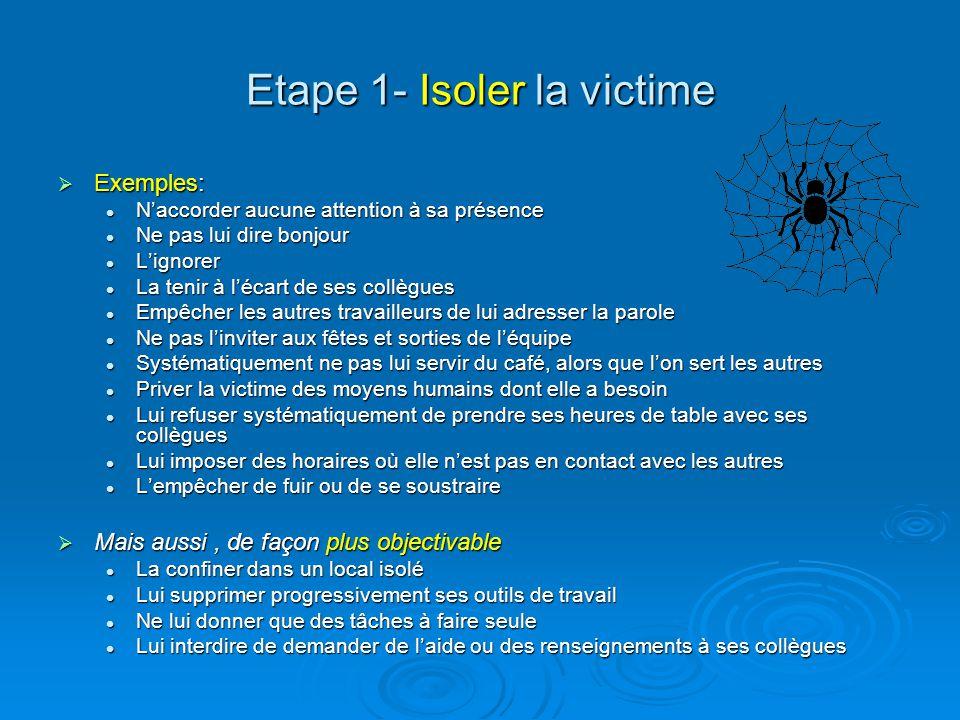 Etape 1- Isoler la victime Exemples: Exemples: Naccorder aucune attention à sa présence Naccorder aucune attention à sa présence Ne pas lui dire bonjo
