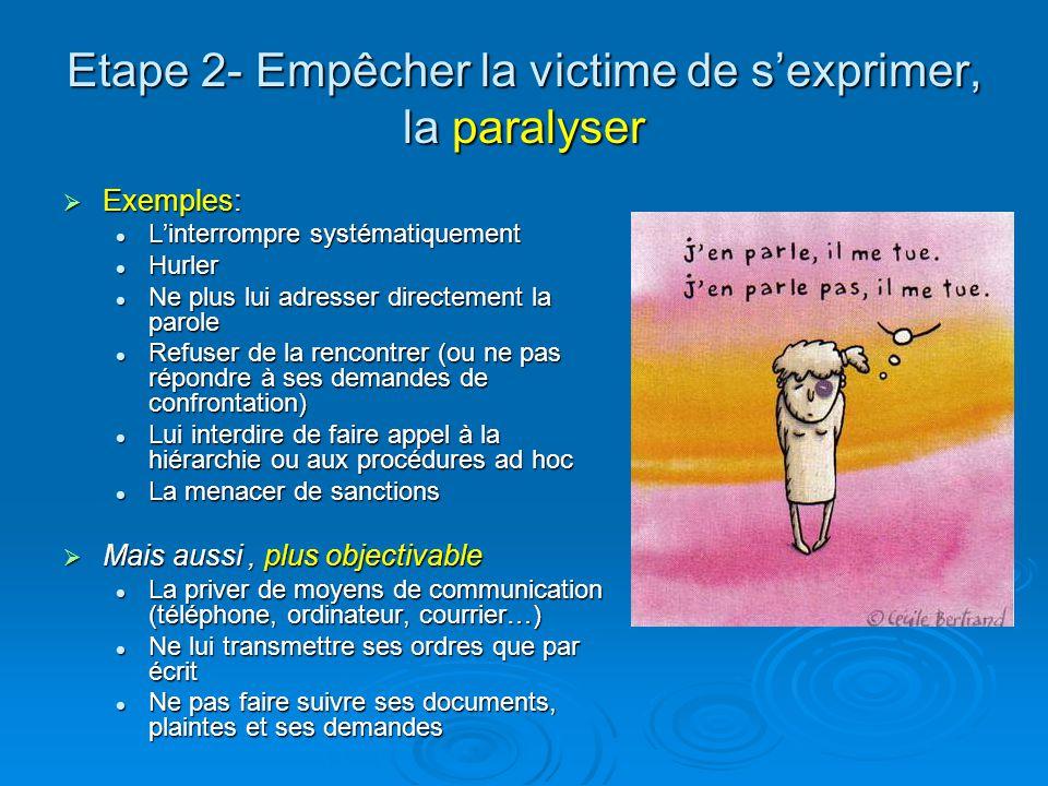 Etape 2- Empêcher la victime de sexprimer, la paralyser Exemples: Exemples: Linterrompre systématiquement Linterrompre systématiquement Hurler Hurler