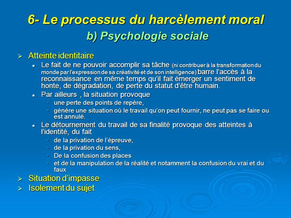 6- Le processus du harcèlement moral b) Psychologie sociale Atteinte identitaire Atteinte identitaire Le fait de ne pouvoir accomplir sa tâche (ni con