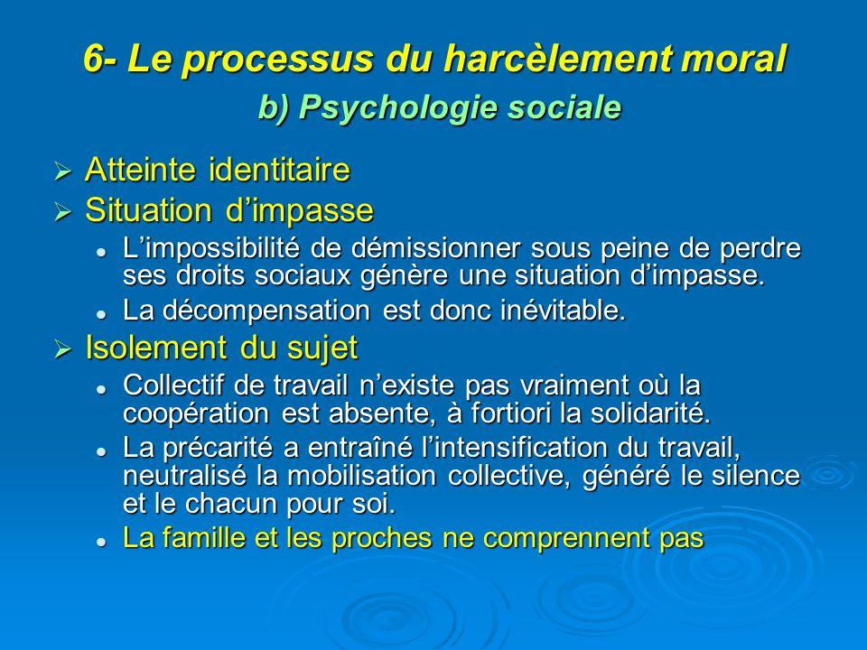 6- Le processus du harcèlement moral b) Psychologie sociale Atteinte identitaire Atteinte identitaire Situation dimpasse Situation dimpasse Limpossibi