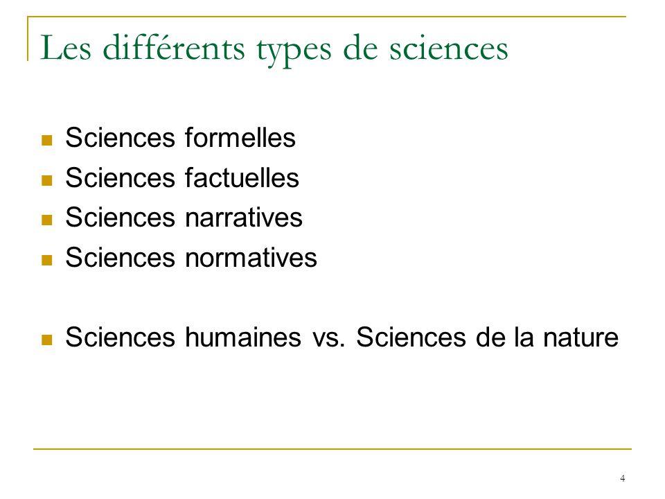 4 Les différents types de sciences Sciences formelles Sciences factuelles Sciences narratives Sciences normatives Sciences humaines vs. Sciences de la