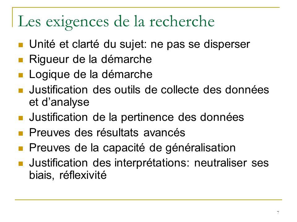 7 Les exigences de la recherche Unité et clarté du sujet: ne pas se disperser Rigueur de la démarche Logique de la démarche Justification des outils d