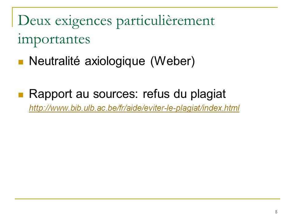 8 Deux exigences particulièrement importantes Neutralité axiologique (Weber) Rapport au sources: refus du plagiat http://www.bib.ulb.ac.be/fr/aide/evi
