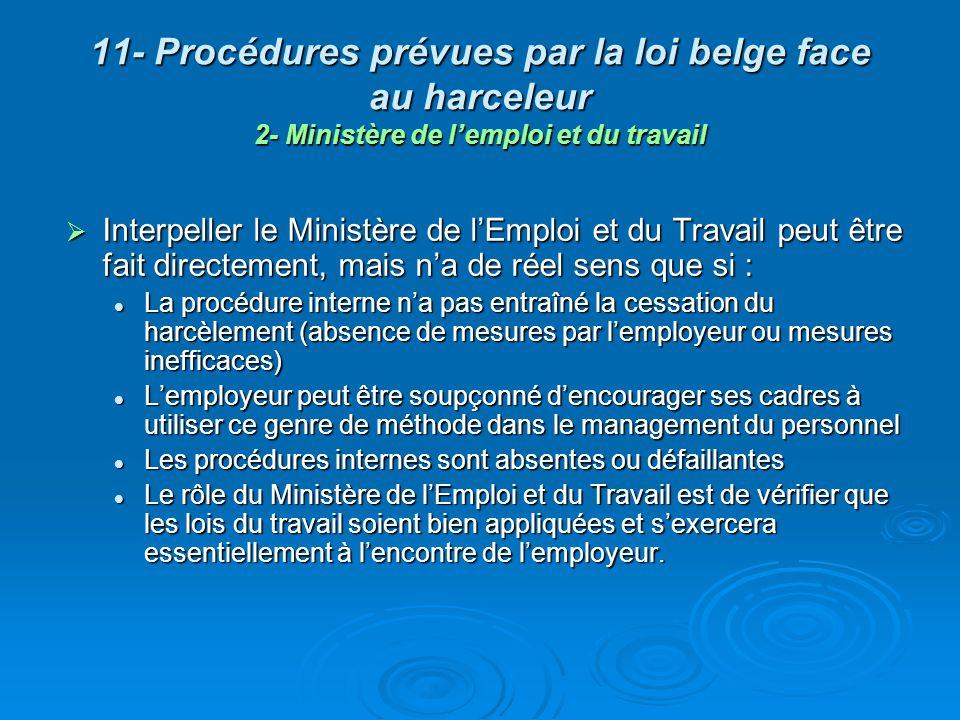 11- Procédures prévues par la loi belge face au harceleur 3- Porter plainte en justice En tout état de cause le recours en justice doit rester lultime procédure à moins que les faits de violence soient à ce point graves quils limposent.