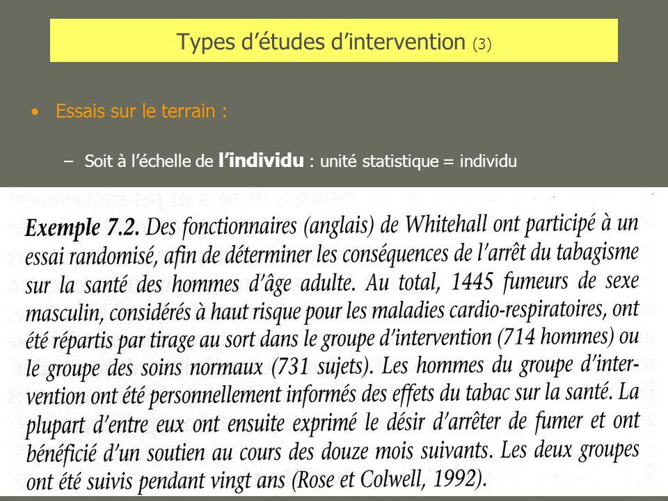 AL2005-06SPUB053 - MAS SP -MultiD27 Types détudes dintervention (3) Essais sur le terrain : –Soit à léchelle de lindividu : unité statistique = indivi