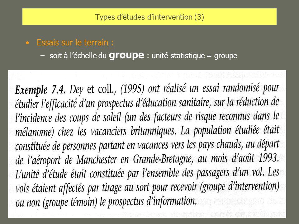 AL2005-06SPUB053 - MAS SP -MultiD28 Types détudes dintervention (3) Essais sur le terrain : –soit à léchelle du groupe : unité statistique = groupe