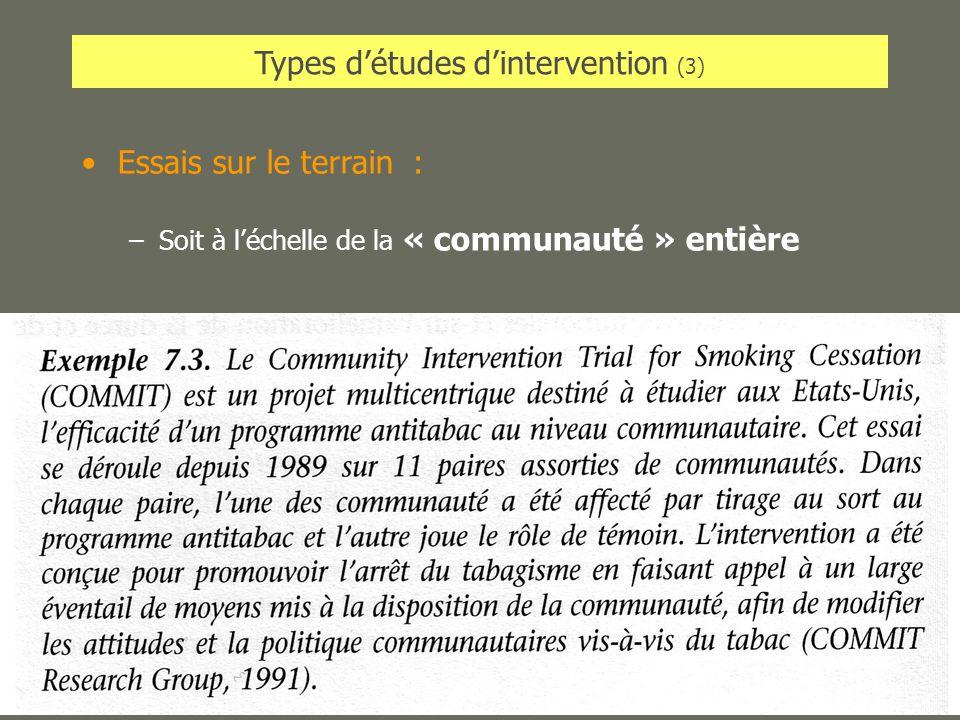 AL2005-06SPUB053 - MAS SP -MultiD29 Types détudes dintervention (3) Essais sur le terrain : –Soit à léchelle de la « communauté » entière