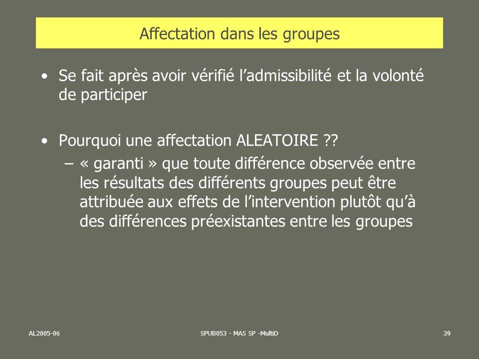 AL2005-06SPUB053 - MAS SP -MultiD39 Affectation dans les groupes Se fait après avoir vérifié ladmissibilité et la volonté de participer Pourquoi une a