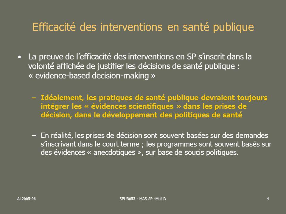 AL2005-06SPUB053 - MAS SP -MultiD4 Efficacité des interventions en santé publique La preuve de lefficacité des interventions en SP sinscrit dans la vo