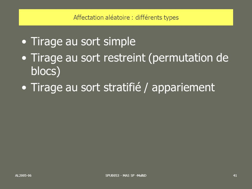 AL2005-06SPUB053 - MAS SP -MultiD41 Affectation aléatoire : différents types Tirage au sort simple Tirage au sort restreint (permutation de blocs) Tir