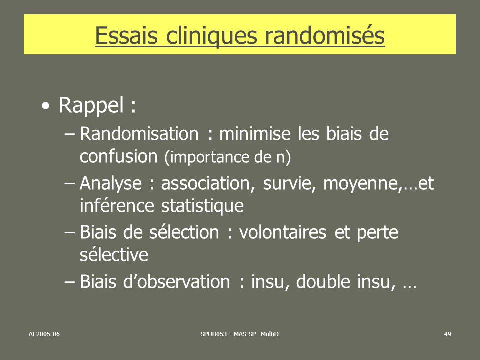 AL2005-06SPUB053 - MAS SP -MultiD49 Essais cliniques randomisés Rappel : –Randomisation : minimise les biais de confusion (importance de n) –Analyse :