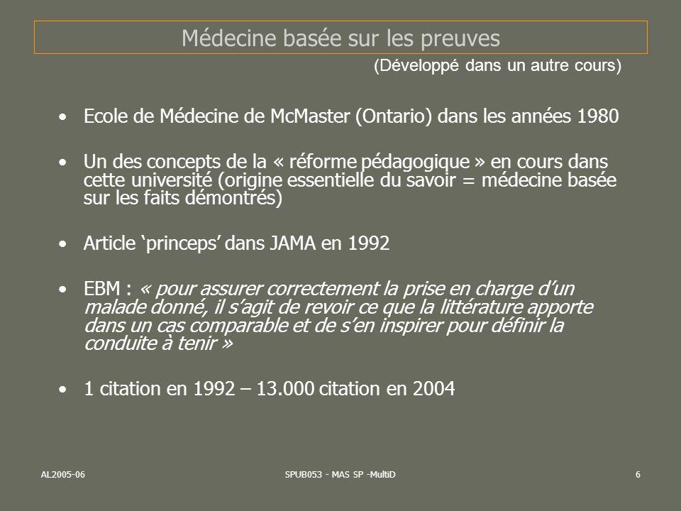 AL2005-06SPUB053 - MAS SP -MultiD6 Médecine basée sur les preuves Ecole de Médecine de McMaster (Ontario) dans les années 1980 Un des concepts de la «