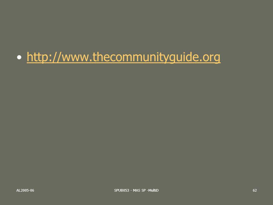 AL2005-06SPUB053 - MAS SP -MultiD62 http://www.thecommunityguide.org