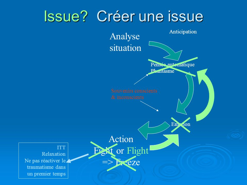 Issue? Créer une issue Analyse situation Action Fight or Flight => Freeze Anticipation Pensée automatique Phantasme Emotion Souvenirs conscients & inc