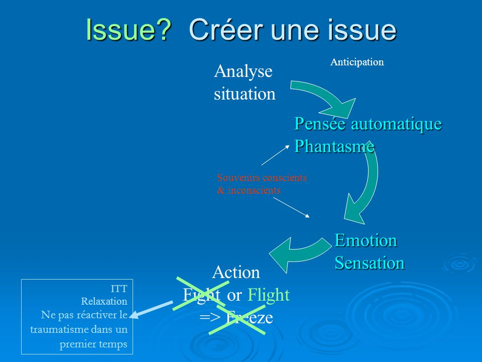 Issue? Créer une issue Analyse situation Action Fight or Flight => Freeze Anticipation Pensée automatique Phantasme EmotionSensation Souvenirs conscie