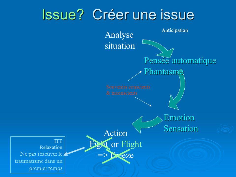 Agir Analyse situation Action Fight or Flight => Freeze Anticipation Pensée automatique Phantasme Emotion Souvenirs conscients & inconscients ITT (Relaxation) Phase de réadaptation Psychothérapie