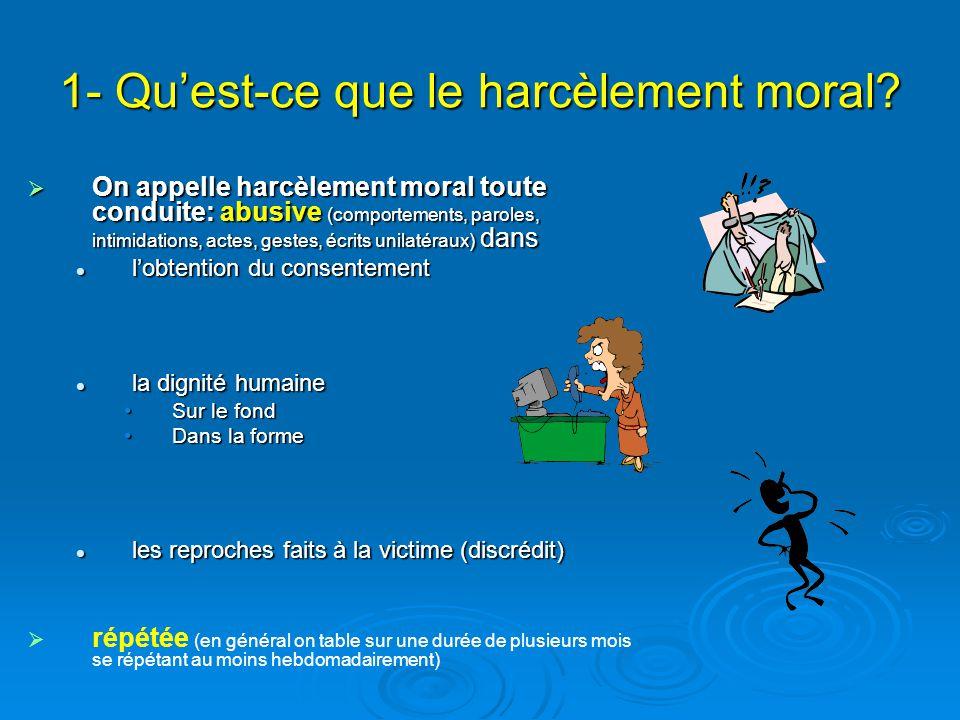 1- Quest-ce que le harcèlement moral.