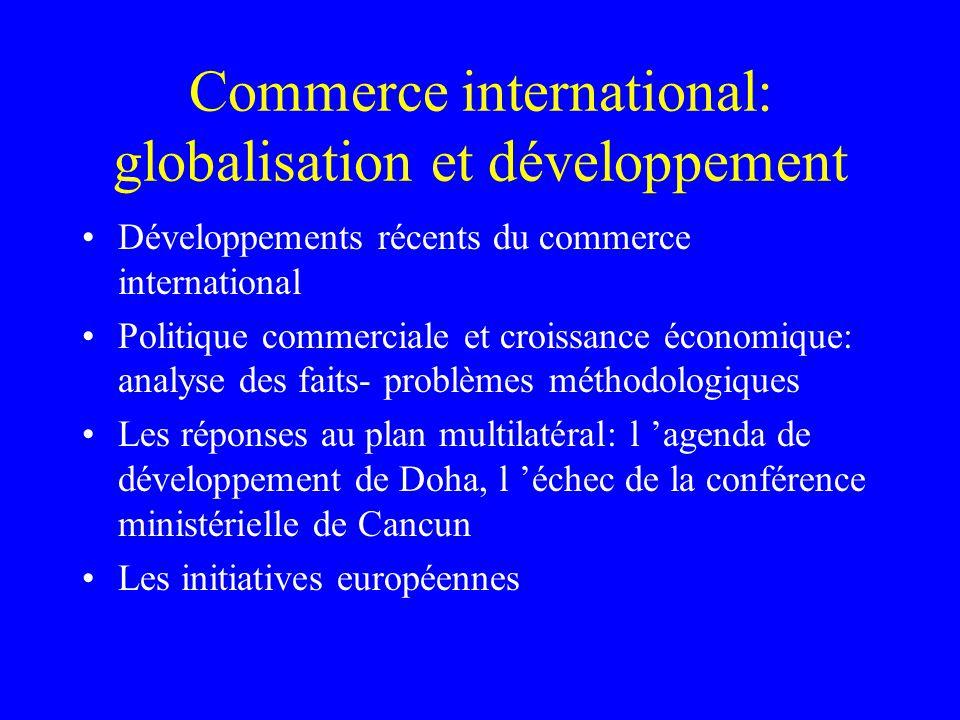 Commerce international: globalisation et développement Développements récents du commerce international Politique commerciale et croissance économique: analyse des faits- problèmes méthodologiques Les réponses au plan multilatéral: l agenda de développement de Doha, l échec de la conférence ministérielle de Cancun Les initiatives européennes