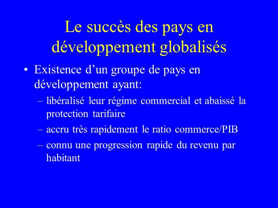 Le succès des pays en développement globalisés Existence dun groupe de pays en développement ayant: –libéralisé leur régime commercial et abaissé la protection tarifaire –accru très rapidement le ratio commerce/PIB –connu une progression rapide du revenu par habitant