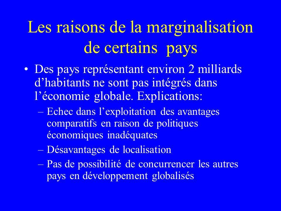 Les raisons de la marginalisation de certains pays Des pays représentant environ 2 milliards dhabitants ne sont pas intégrés dans léconomie globale.
