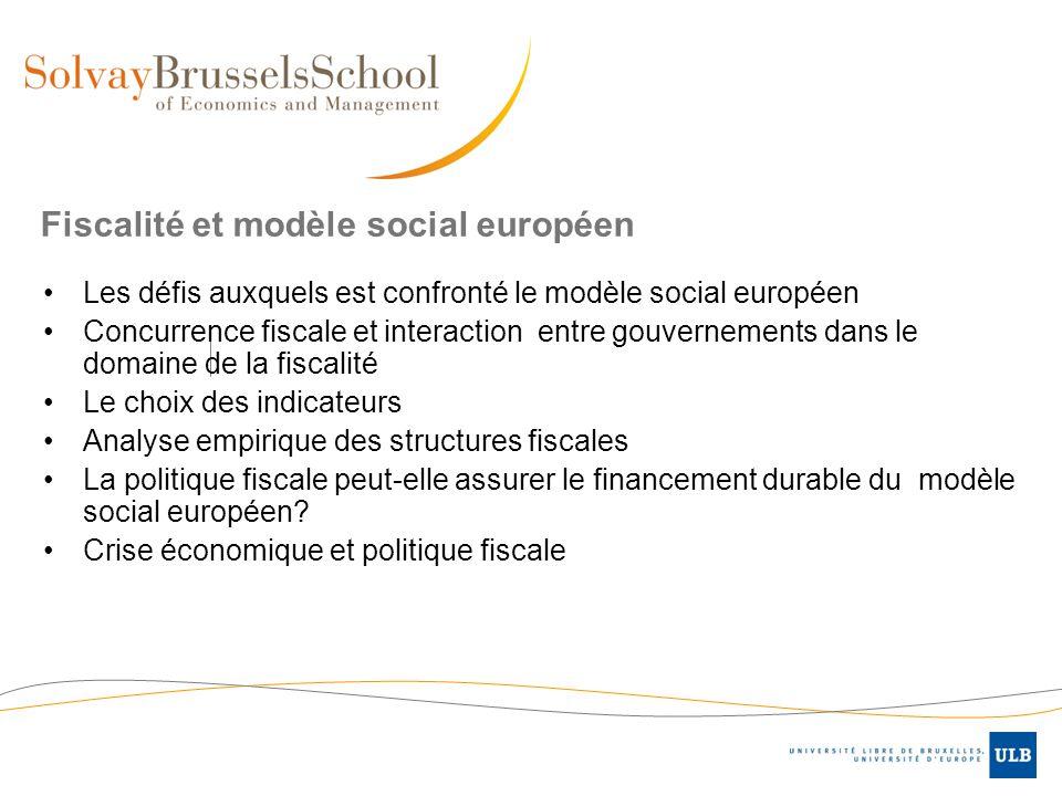 Fiscalité et modèle social européen Les défis auxquels est confronté le modèle social européen Concurrence fiscale et interaction entre gouvernements