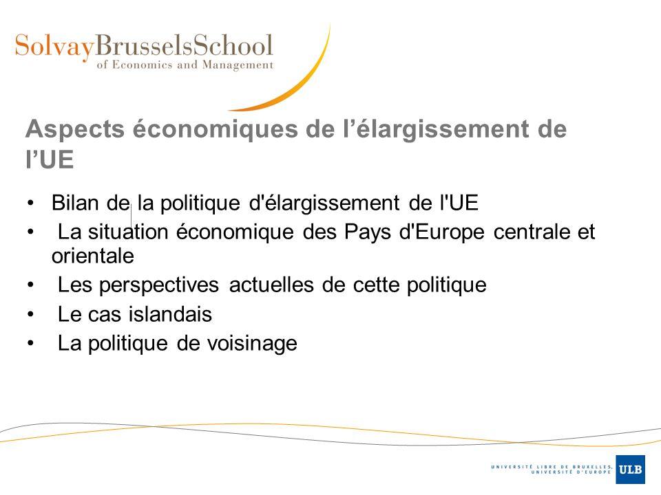Aspects économiques de lélargissement de lUE Bilan de la politique d'élargissement de l'UE La situation économique des Pays d'Europe centrale et orien