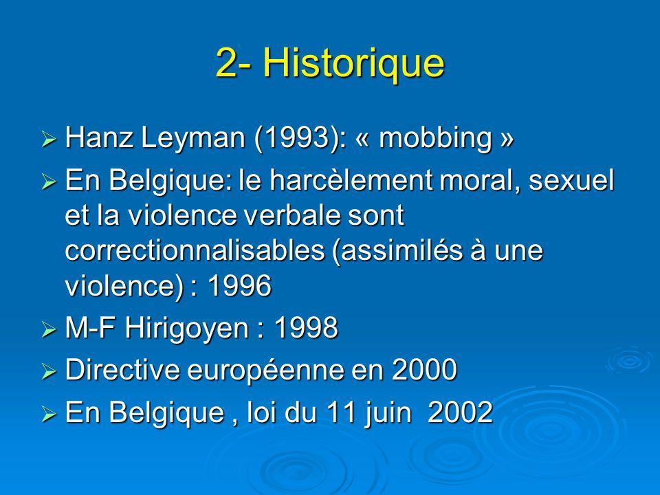 2- Historique Hanz Leyman (1993): « mobbing » Hanz Leyman (1993): « mobbing » En Belgique: le harcèlement moral, sexuel et la violence verbale sont correctionnalisables (assimilés à une violence) : 1996 En Belgique: le harcèlement moral, sexuel et la violence verbale sont correctionnalisables (assimilés à une violence) : 1996 M-F Hirigoyen : 1998 M-F Hirigoyen : 1998 Directive européenne en 2000 Directive européenne en 2000 En Belgique, loi du 11 juin 2002 En Belgique, loi du 11 juin 2002
