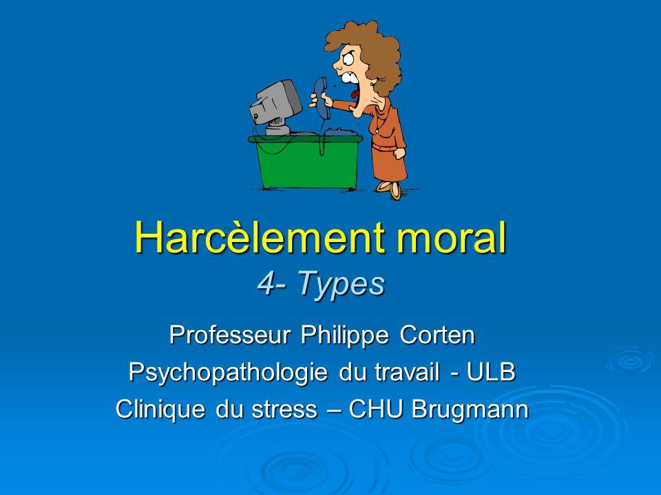 Harcèlement moral 4- Types Professeur Philippe Corten Psychopathologie du travail - ULB Clinique du stress – CHU Brugmann