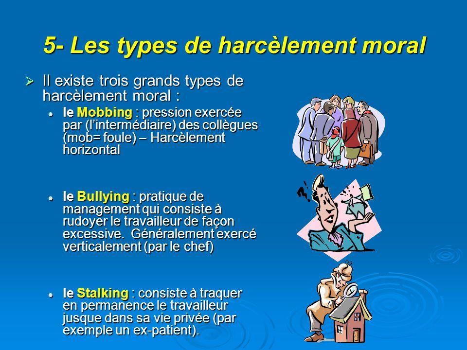 5- Les types de harcèlement moral Il existe trois grands types de harcèlement moral : Il existe trois grands types de harcèlement moral : le Mobbing : pression exercée par (lintermédiaire) des collègues (mob= foule) – Harcèlement horizontal le Mobbing : pression exercée par (lintermédiaire) des collègues (mob= foule) – Harcèlement horizontal le Bullying : pratique de management qui consiste à rudoyer le travailleur de façon excessive.