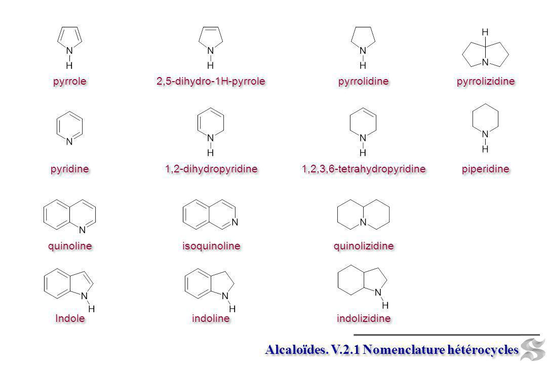 pyrrole 2,5-dihydro-1H-pyrrole pyrrolidine pyrrolizidine pyridine 1,2-dihydropyridine 1,2,3,6-tetrahydropyridine piperidine quinoline isoquinoline qui