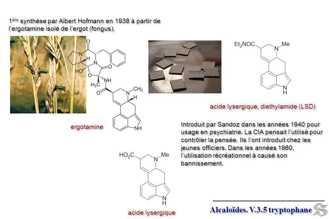 Alcaloïdes. V.3.5 tryptophane acide lysergique, diethylamide (LSD) 1 ère synthèse par Albert Hofmann en 1938 à partir de lergotamine isolé de lergot (
