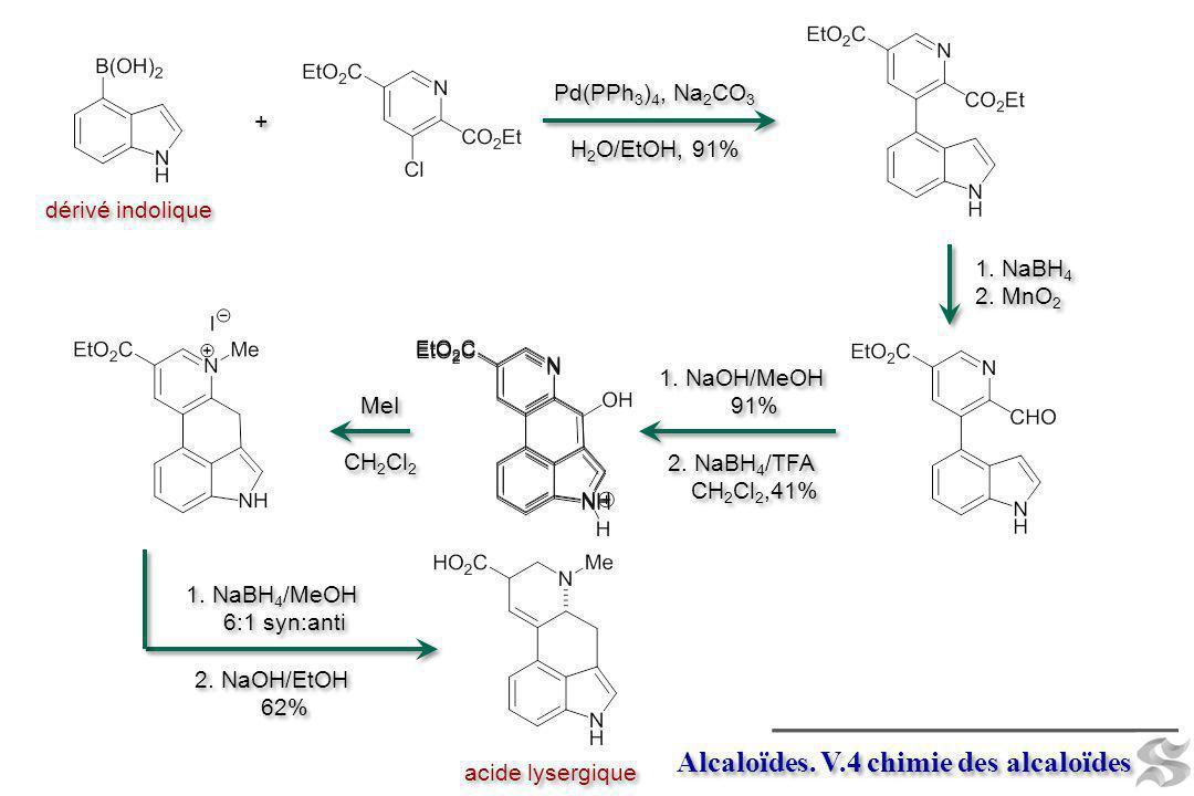 Alcaloïdes. V.4 chimie des alcaloïdes dérivé indolique Pd(PPh 3 ) 4, Na 2 CO 3 H 2 O/EtOH, 91% Pd(PPh 3 ) 4, Na 2 CO 3 H 2 O/EtOH, 91% + + 1. NaOH/MeO