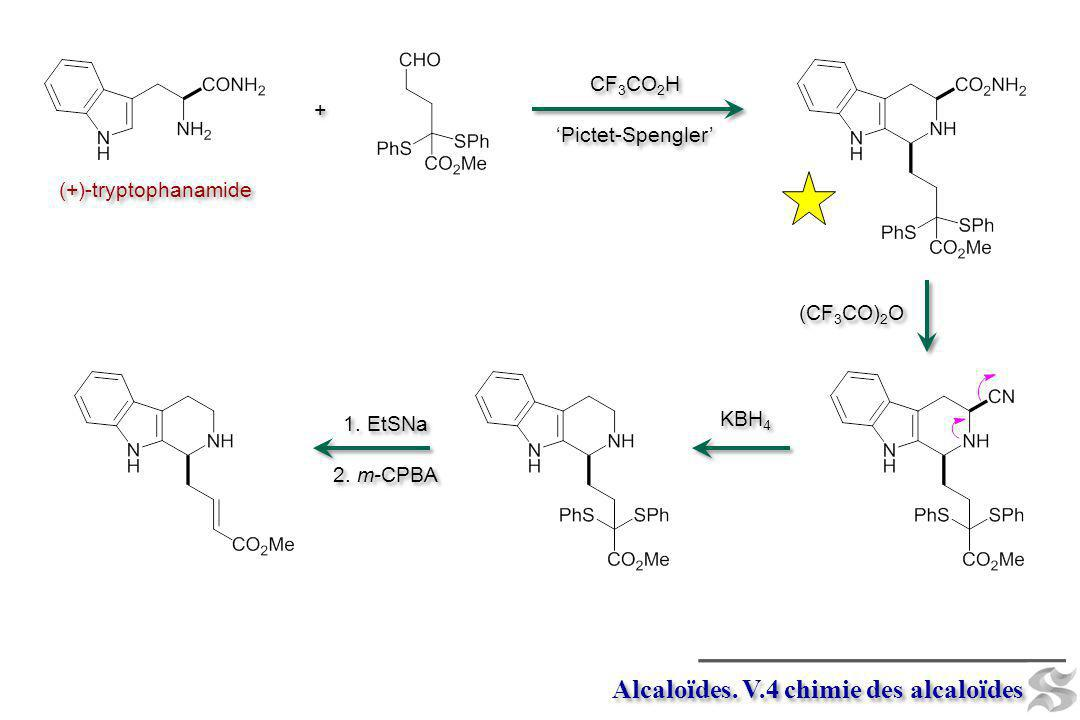 Alcaloïdes. V.4 chimie des alcaloïdes (+)-tryptophanamide CF 3 CO 2 H Pictet-Spengler CF 3 CO 2 H Pictet-Spengler + + (CF 3 CO) 2 O KBH 4 1. EtSNa 2.