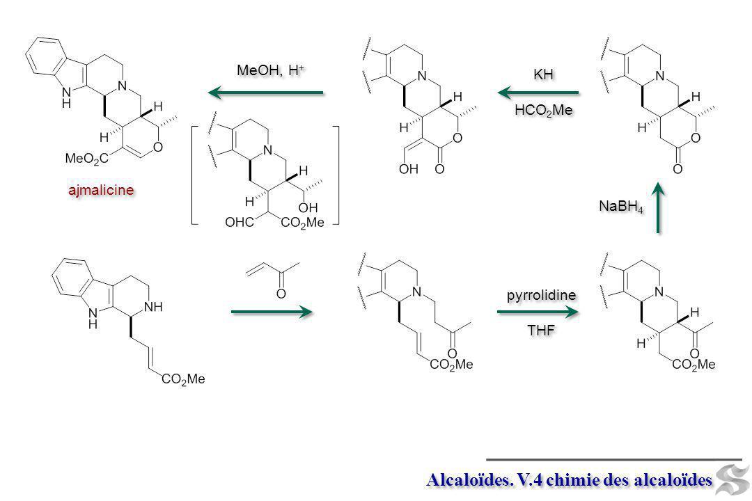 Alcaloïdes. V.4 chimie des alcaloïdes pyrrolidine THF pyrrolidine THF NaBH 4 KH HCO 2 Me KH HCO 2 Me ajmalicine MeOH, H +
