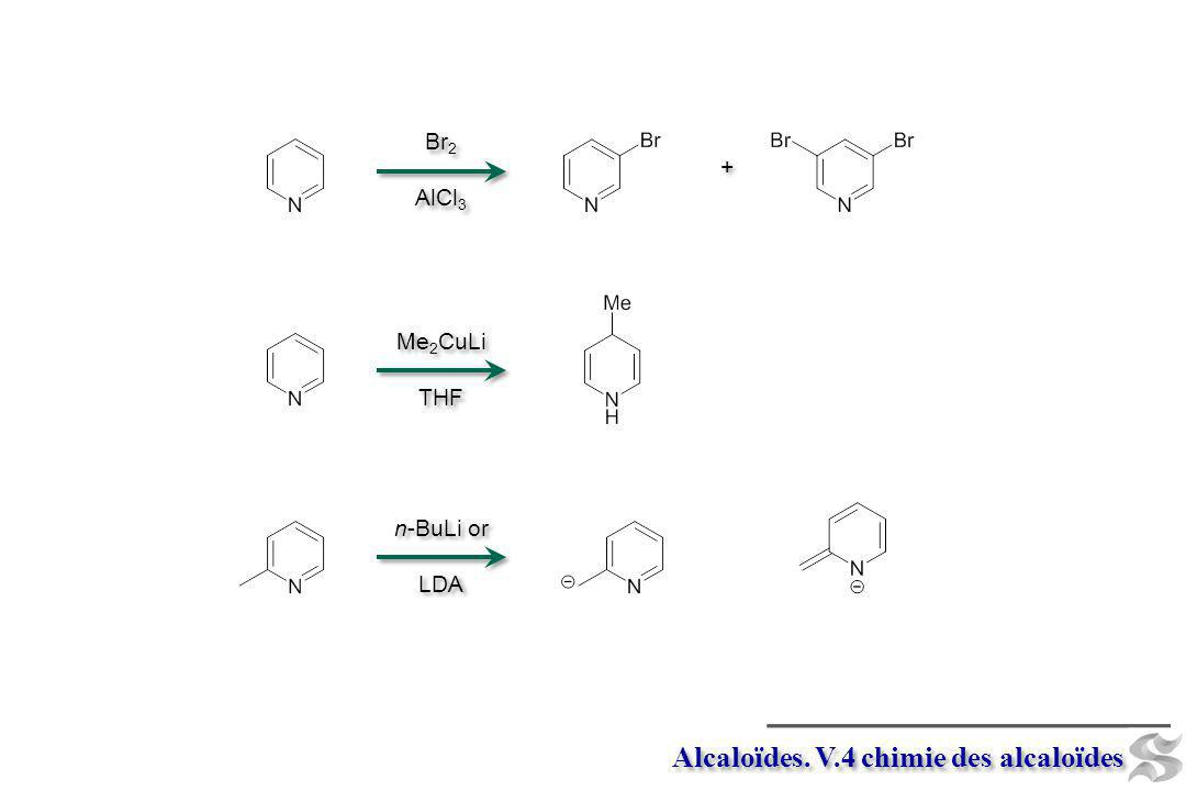 Alcaloïdes. V.4 chimie des alcaloïdes Me 2 CuLi THF Me 2 CuLi THF n-BuLi or LDA n-BuLi or LDA Br 2 AlCl 3 Br 2 AlCl 3 + +
