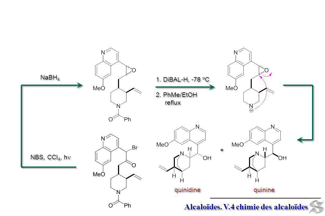 Alcaloïdes. V.4 chimie des alcaloïdes 1. DiBAL-H, -78 ºC 2. PhMe/EtOH reflux 1. DiBAL-H, -78 ºC 2. PhMe/EtOH reflux NBS, CCl 4, h NaBH 4 + + quinine q