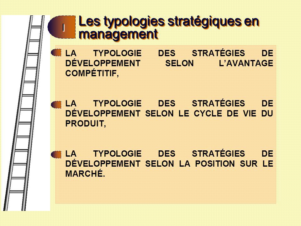 Les typologies stratégiques en management II LA TYPOLOGIE DES STRATÉGIES DE DÉVELOPPEMENT SELON LAVANTAGE COMPÉTITIF: Cette typologie dite de M.
