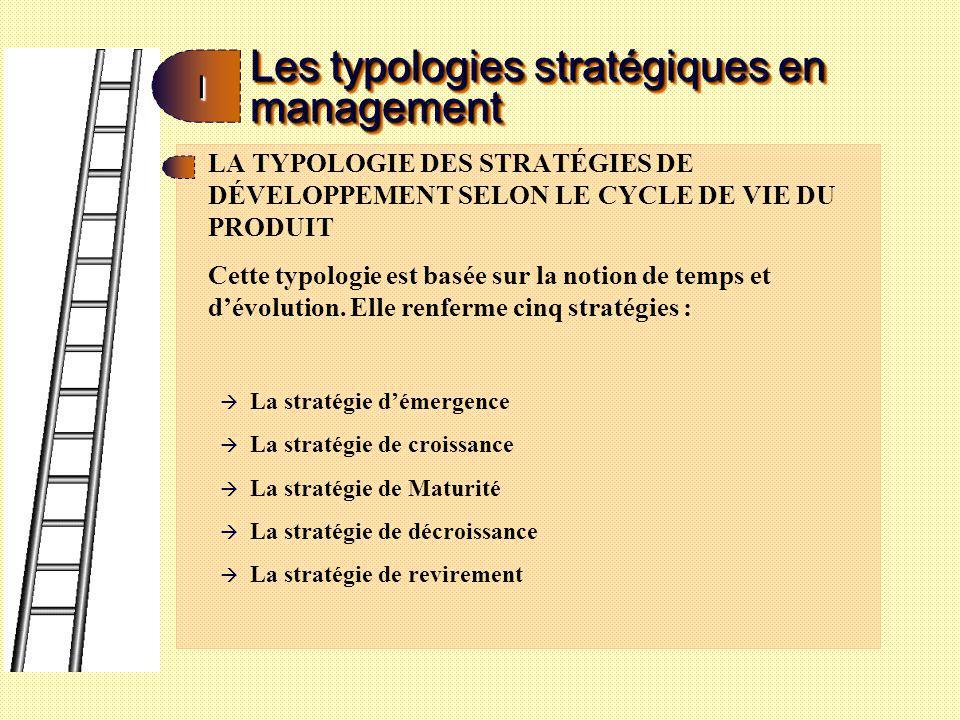 Les typologies stratégiques en management II La stratégie démergence Elle est adopté par les entreprises qui, soit débutent leurs activités, soit se lancent dans des activités nouvelles : de nombreux projets à haut risque financier sont entrepris.