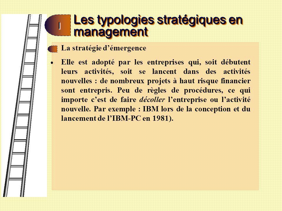 Les typologies stratégiques en management II La stratégie de croissance : Ici, les projets risqués se font plus rares car lentreprise a, a priori, trouvé son filon.