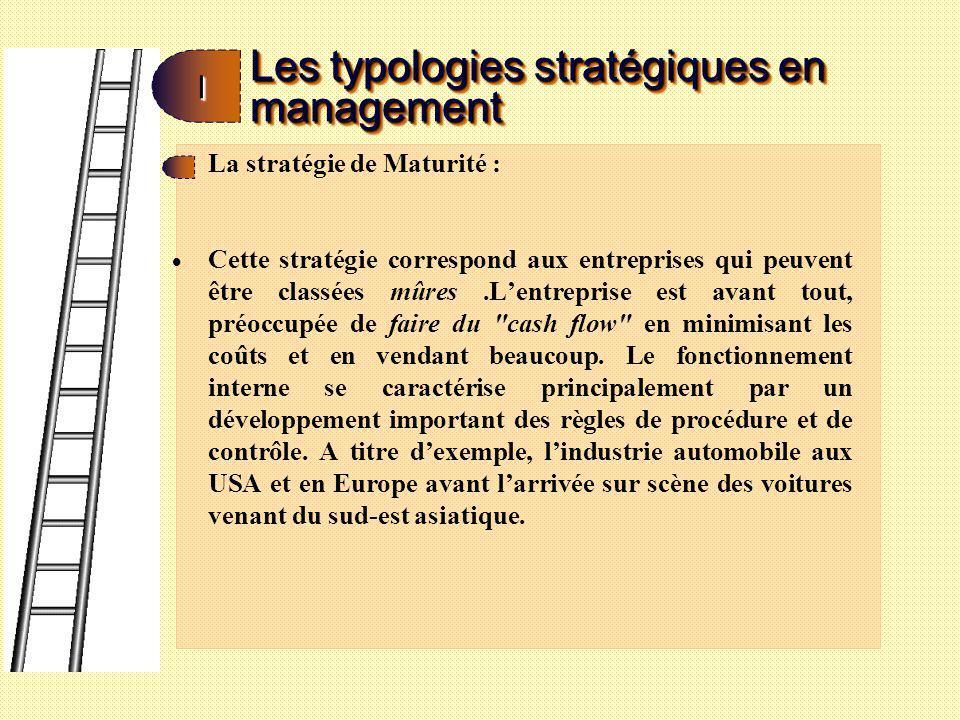 Les typologies stratégiques en management II La stratégie de décroissance Elle correspond à lentreprise qui est contrainte darrêter ses activités ou une partie dentres elles.